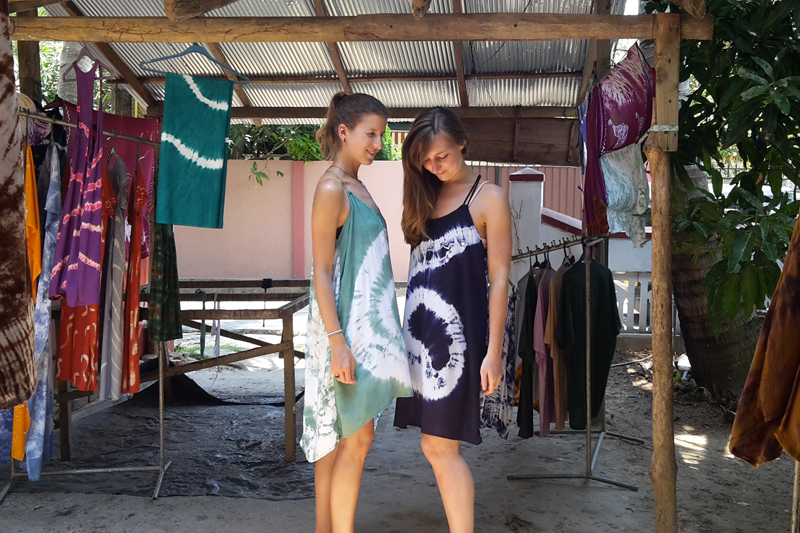 Girls in tie-dye dresses, Batik Center, Weligama, Sri Lanka